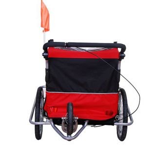 Aosom 2in1 Double Kids Baby Bike Bicycle Trailer Stroller Jogger Red
