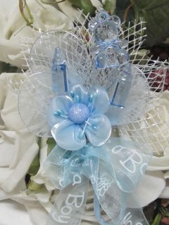 Baby Shower Corsage Boy Mother to Be Flower Corsage Blue Grandma Too