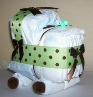 Bassinet Diaper Cake Baby Shower Decor Gift Green Brown