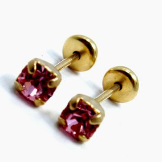 Gold 18K GF Earrings Baby Girl Pink Crystal Square 3mm Safety Stud New