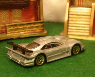 HOT WHEELS CAR GREY MERCEDES CLK LM GOLD RIMS BLACK INTERIOR CLEAR