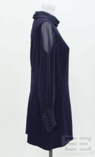 Balmain Navy Blue Long Sleeve Shift Dress