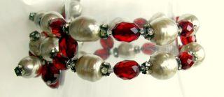 Bakelite Bracelet Earrings Vintage Cherry Amber Bead Faux Pearl