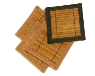 Set of 4 Brown Bamboo Coasters w Black Edge Trim 4x4
