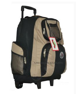 New 18 Khaki Rolling Wheeled Backpack School Bag Travel Carry On