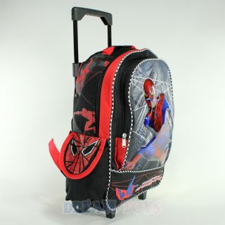 16 Large Roller Backpack Rolling Boys Bag Wheeled Spiderman