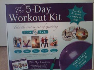 Workout Kit Excercise Book DVD Fitness Ball Brand New in Box
