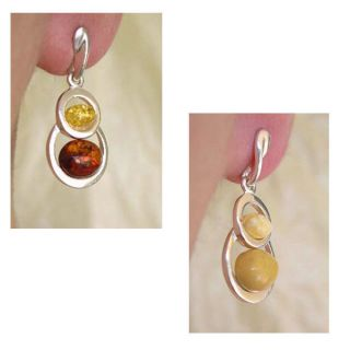 Baltic Multicolor or White Amber Sterling Silver Post Back Earrings