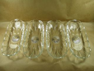 Ankor Hocking Thick Pressed Glass Banana Split Boat Dishes 4 Piece Lot