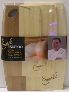 PACK EMERIL KITCHENWARE NATURAL BAMBOO EVERYDAY CUTTING BOARD SET NEW