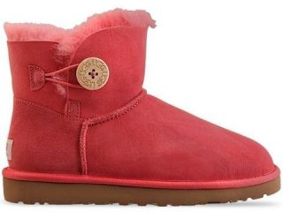 NWB WOMEN UGG BOOT MINI BAILEY BUTTON TEA ROSE SIZE 8 RETAIL 180