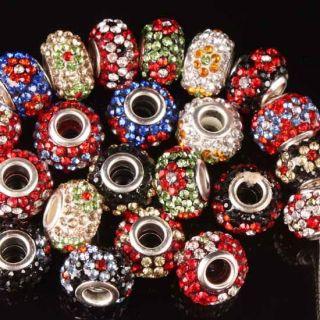 10P Multicolor Crystal Glass Rhinestone Big Hole Loose Beads for Charm