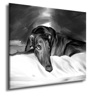 Greyhound Dog Portrait Original Painting Canvas Fine Art Giclee Print