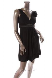 Darlin New Pleated Deep V Neck with Brooch Satin Tie Dress Black XS