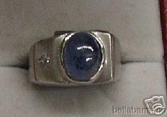 14k White Gold Diamond Star Sapphire Mens Ring Size 5