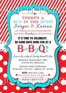 Bun in The Oven Baby BBQ Babyq Shower Invitation