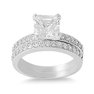 Silver Rings 925 Sterling Engagement Wedding Set CZ Gems Band Size 5 6