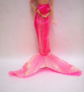 Barbie Doll Clothing Mermaid Tail Fin Skirt Hot Pink Gold White