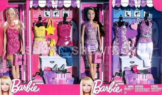 Set of 2 Girls Barbie Dolls + 6 Fashion Outfits & Accessories Gift Set