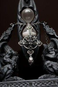 Skull Pendant Pentagram Baphomet Metal Wiccan Satan Silver Gothic