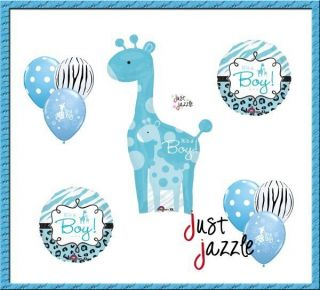 Giraffe Blue Zebra Balloon Baby Shower Party Supply Gift Set