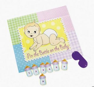 Baby Shower Party Game Pin The Bottle on The Baby