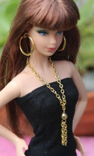 Barbie Jewelry Set Necklace Chain Gold Earring Doll Accessory Tassel