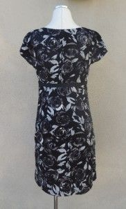 Ann Taylor Loft Black Gray Floral Print Classic Sheath Dress Sz 8