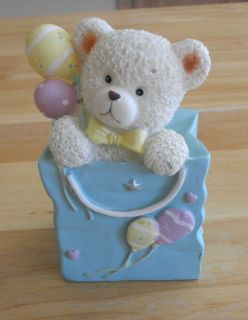 BABY SHOWER or BIRTHDAY Teddy Bear w Balloons CAKE TOPPER or Figurine