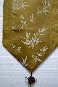 New Chinese Silk Brocade Table Runner Bamboo Gold 89L