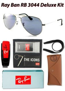 Ray Ban Aviator Small Metal RB3044 W3177 Silver Crystal Blue 52mm