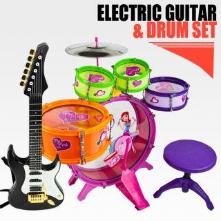 Toy Drum Playset Black Guitar Musical Instrument Educational Band Kit