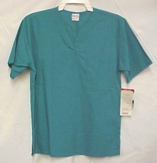 barco teal v neck scrub top medical uniform xs new
