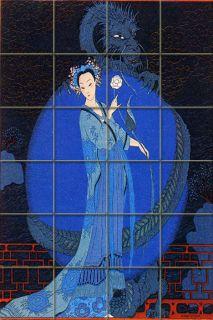 Art Deco Mural Ceramic George Barbier Bath Tile 49