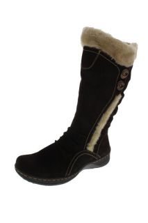 Bare Traps New Elister Brown Suede Ruched Faux Fur Flat Mid Calf Boots