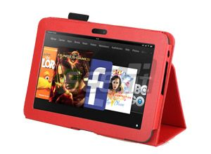 Eeekit for  Kindle Fire HD 7 Red PU Leather Case Car Charge USB