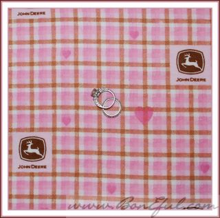 BOOAK Fabric John Deere Flannel Plaid Pink Brown Check Gingham Baby