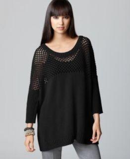 Bar III New Las Vegas Black Open Stitch Dolman Sleeve Pullover Sweater