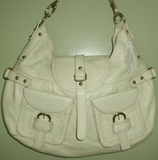 New Barr Barr New York Large Ivory PEBBLED Leather Hobo Bag