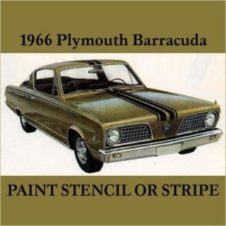 Mopar 66 Plymouth Barracuda Cuda Stencil Stripe 1966