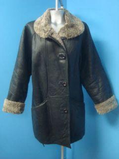 UNUSUAL Black SHEARLING SHEEP FUR Leather Coat Jacket GOODBUYBARRY