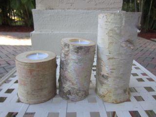 Set of 3 Beautiful Birch Bark Log Candle Holders Tea Lights Nature