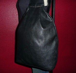 Vintage Basile Italy Black Leather Sling Medium Backpack Purse Ergo