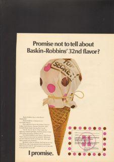 1970 Print Ad Baskin Robbins Top Secret Flavor Promise Cone Ice Cream
