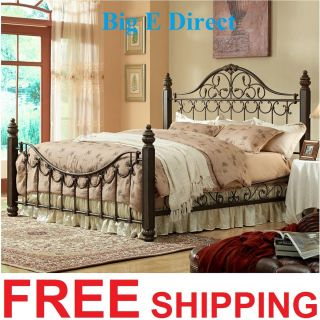 Metal Bedroom Furniture King Queen Steel Bed Antique Rustic Scoll