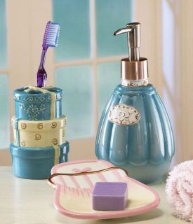 Ladies Ceramic Bathroom Bath Accessories Set Soap Dish Lotion Pump