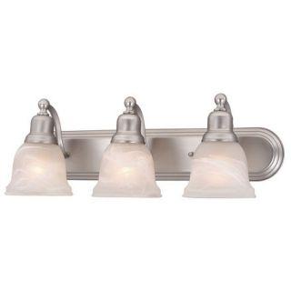 New 3 Light Bathroom Vanity Lighting Fixture Brushed Nickel White