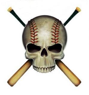 Baseball Skull Crossed Bats Cool Sticker Vinyl Decal