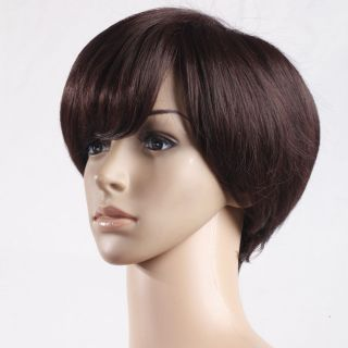 New Short Brown Curly Side Bang Hair Wig 11 8 inch Fashion Womens
