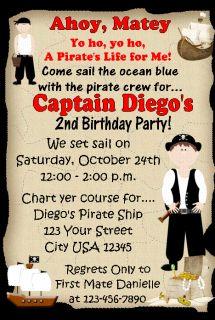 12 Pirate Boy Ticket Invitations Birthday Photo Twins